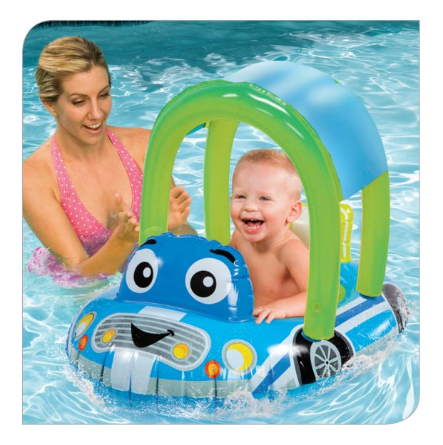 Cozy Car Float Seat W Canopy Banzai Backyard Fun